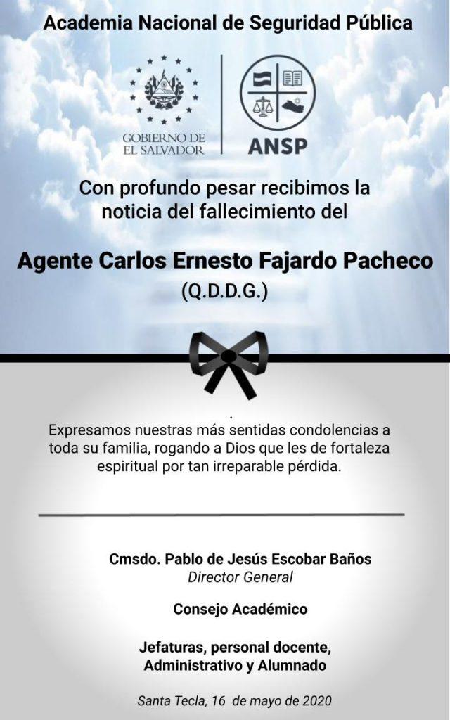 ESQUELA PESAME_AGTE. CARLOS FAJARDO